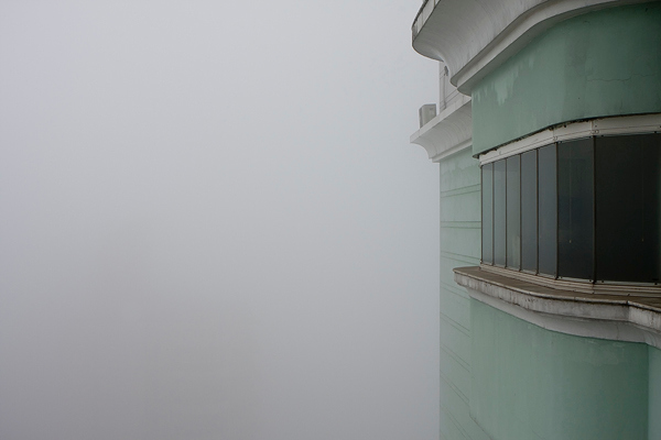 """Pea soup"" - Fri 11 Jan<br /> <br /> Looking out from our balcony on 35th floor this morning, this is what you see - nothing!! The fog continues in Shanghai with airports and major highways closed...<br /> <br /> In swedish we use the term ""pea soup"" for a fog like this"