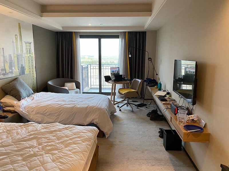This is what things looked like for two weeks.  I had to try relatively neat because there was no room service (or any real way to clean stuff).