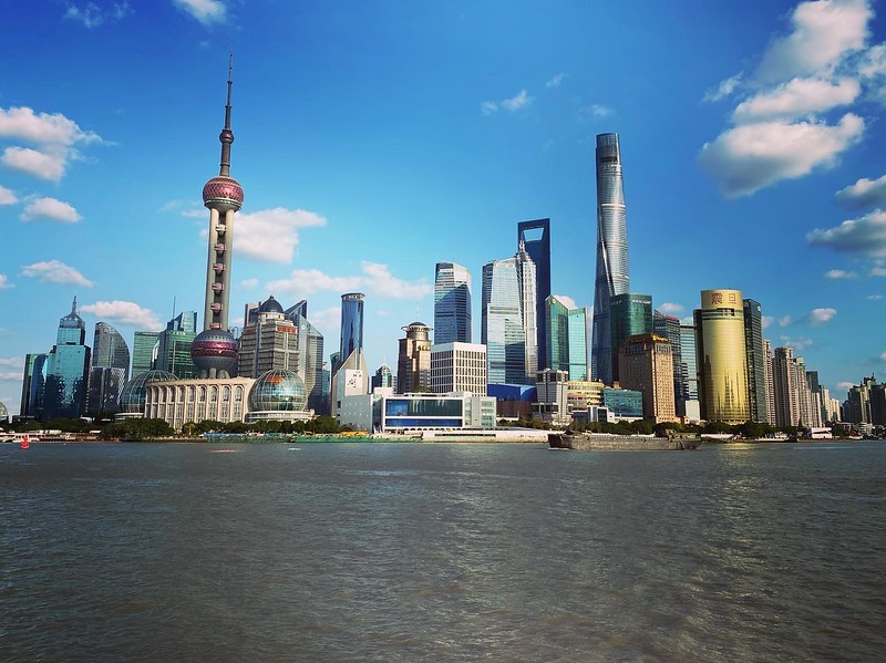 Took the subway for the first time to see the iconic skyline of Shanghai from the other side of the river.  The tall building on the right is actually the 2nd tallest building in the world.  It was a great autumn day.