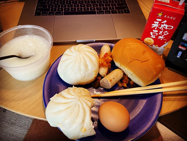 This was a typical breakfast.  Breakfast was always the same thing...rice pudding thing (needed seasoning badly), two buns filled with different stuff, ham or sausage, a bread product, and a hard boiled egg.  It was a pretty good breakfast all in all!