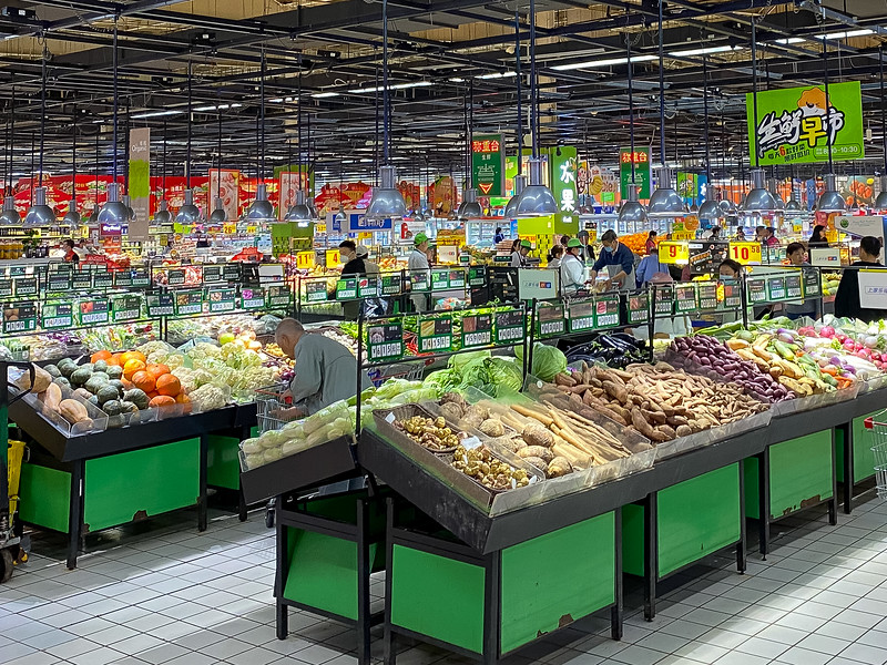 This is waht a big grocery store relatively near me looks like.  Neat thing is that you can get stuff from China (obviously) but also all kinds of stuff from all over the world, not just the US.  It's interesting trying new stuff out.