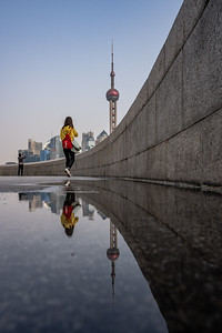 Reflection of the Oriental Pearl Tower at The Bund