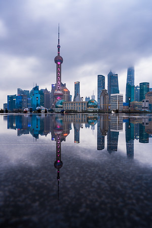 Reflection of Shanghai skyline at The Bund