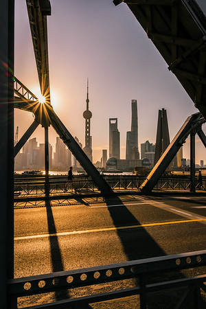 View of Pudong skyline from WaiBaidu Bridge at sunrise