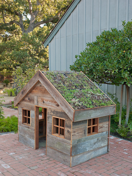 A green roof manages runoff and insulates the building.