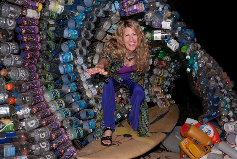 Exhibit curator Linda Gass in the barrel.