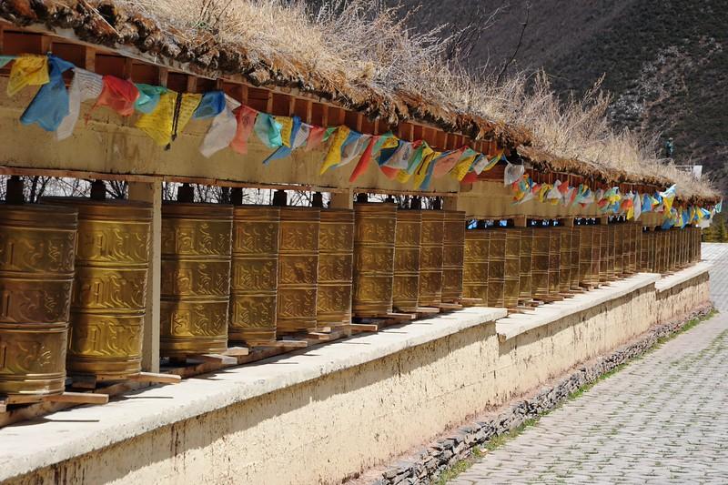 Prayer wheels in Zhongdian, Yunnan, China