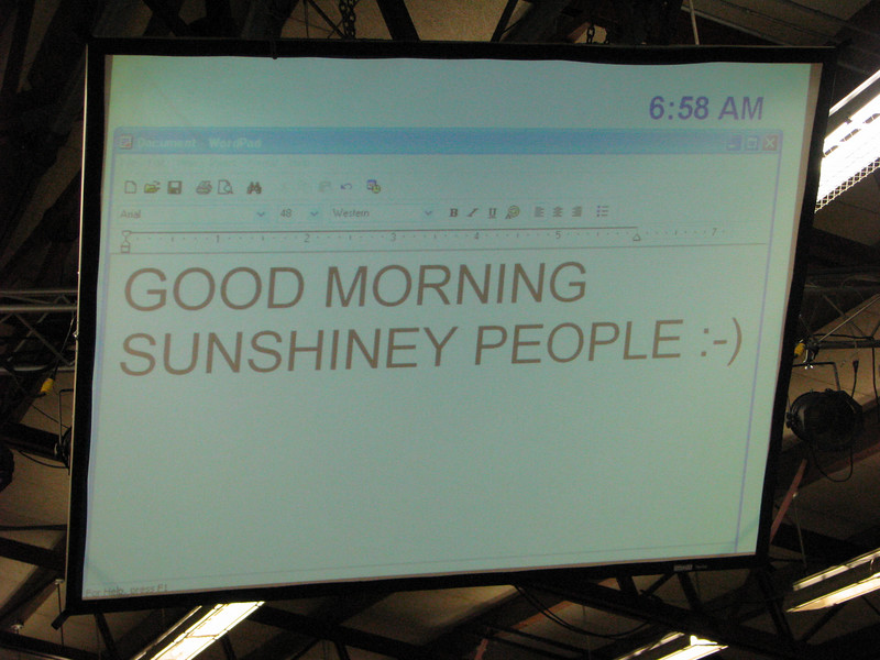 Message greeting phone operators who arrived at Family Life at 5:30 am for their phone shift training.