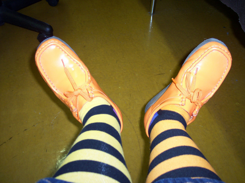 No - it's not the Wicked Witch of the West - it's just Sandy's Sharathon socks!