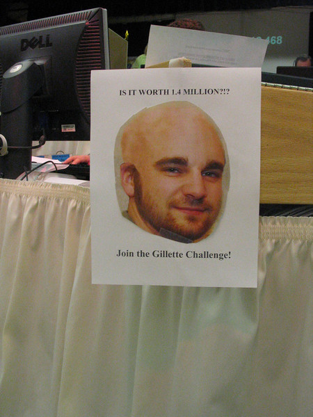 """The """"Gillette Challenge"""".  What Tim McKeever would look like if he shaves his head which he will do if  FLN reaches its goal by Saturday night."""