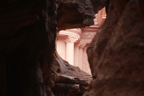 first glimpse of Al Khazneh (The Treasury), Petra's most famous site.
