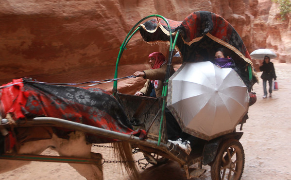 approach to Petra (an hour or so walk from town) is through a winding, narrow gorge (Siq)