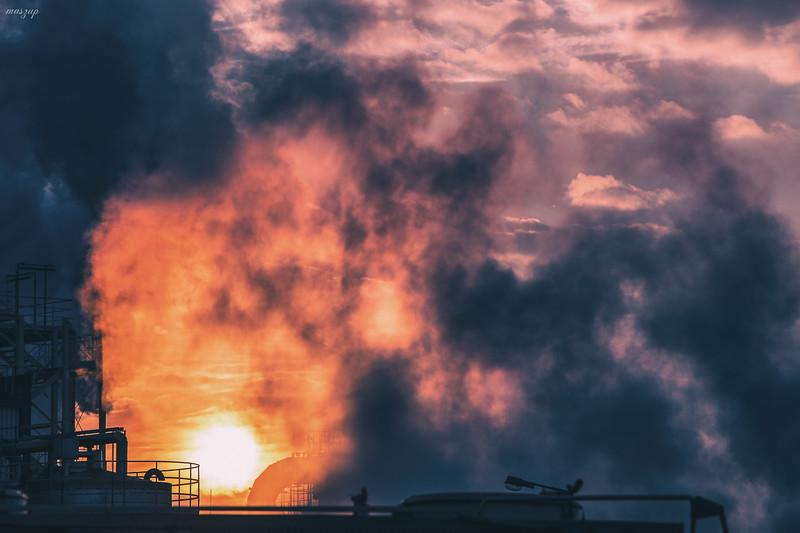 smoke sunset