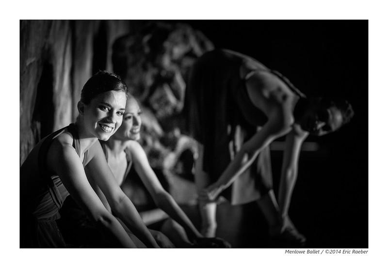 Dancers Julie Giordano, Aurora Frey, and Lauren Mindel backstage during dress rehearsal of Plague
