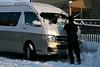Niseko Japan, Driver Clears Ice from Windscreen