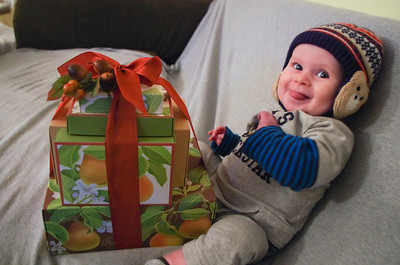 Day 141 (12/18) - Sam's favorite Xmas gift? Gift baskets! Look at all those boxes for him to play with. and a BOW!