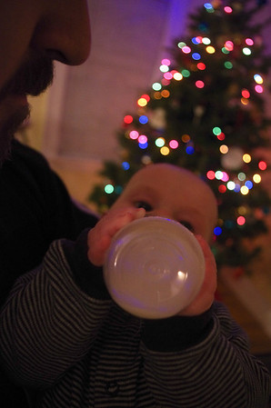 Day 129 (12/6) - Sam has figured out how to hold his own bottle. It's a Christmas miracle!