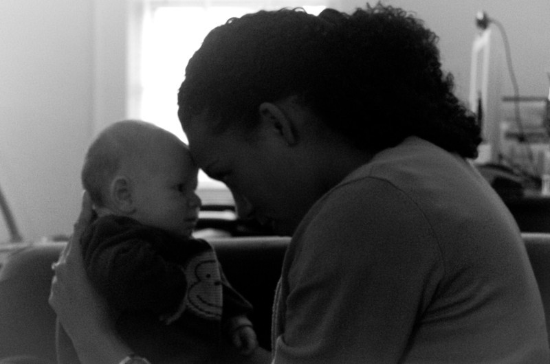 Day 76 (10/14) - Sam and his Godmother Naomi share a conversation after his Baptism.