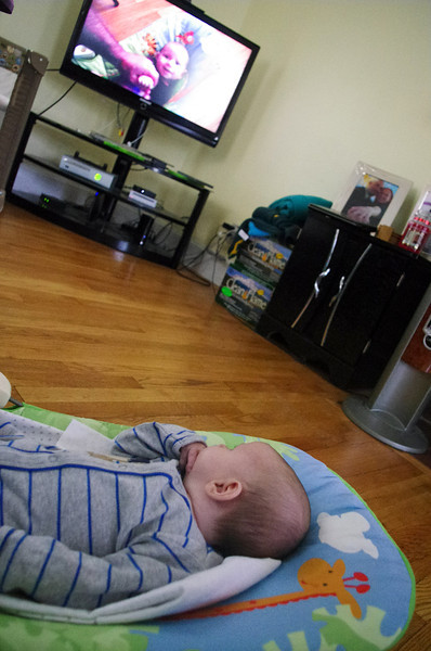 Day 69 (10/7) - Sam likes watching himself Kung-Fu Fight on the TV. He is always interested in working on his technique. Such the little perfectionist.