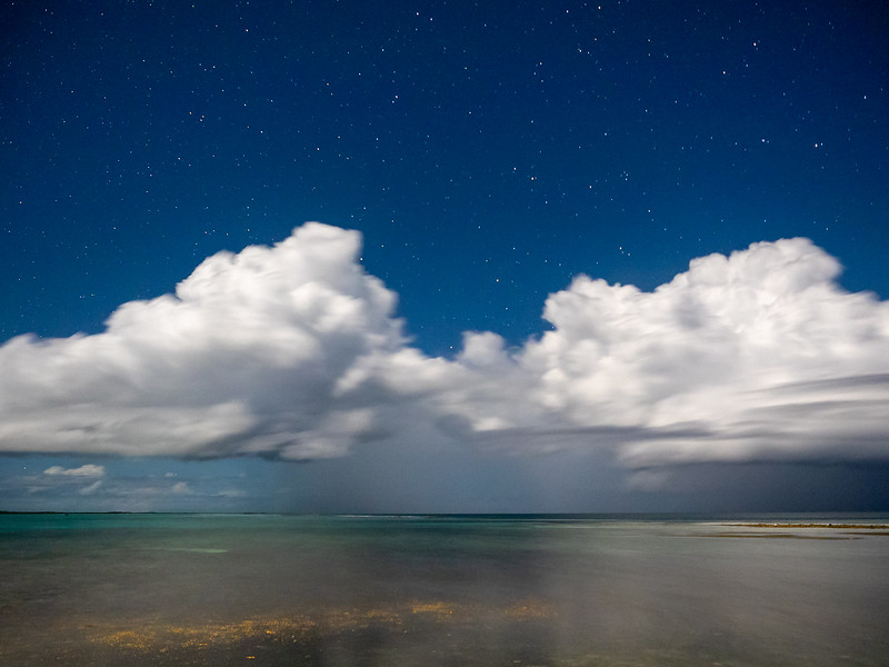 Clouds, Stars, and Ocean Flats Lit by Bright Moon, 8:10pm
