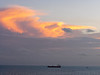 Commercial Tanker Offshore of Belize City at Sunset