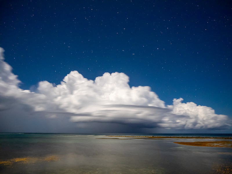 Clouds, Stars, and Ocean Flats Lit by Bright Moon, 8:09pm