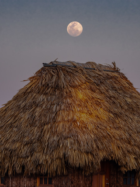 Full Moon Rising over Grass Hut, 5:36pm, Feb 18 2109