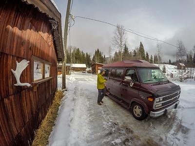 Tim Emmett and Ron Burgundy at Nakiska Ranch, Helmcken Falls, Wells Gray Provincial Park, BC, Canada. February 2016