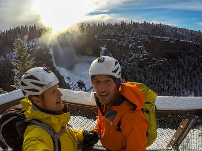Tim Emmett & Klemen Premrl, at Helmcken Falls lookout, Wells Gray Provincial Park, BC, Canada. February 2016