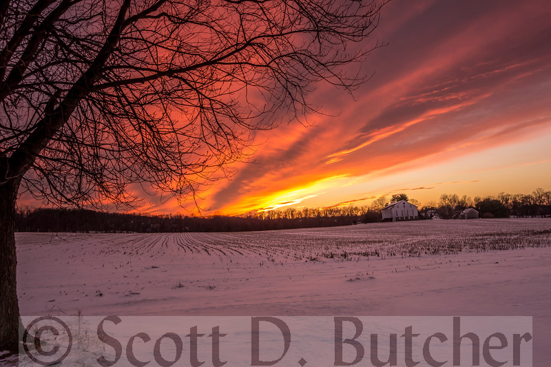 Sunset over Camp Security in York, PA by Scott D. Butcher. This is the country's last undisturbed prison camp from the American Revolution. The visible buildings are part of the Johannes Schultz property.