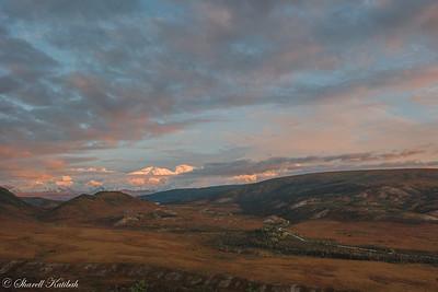 Sunset, Cloudy Alaska Range from Camp Denali