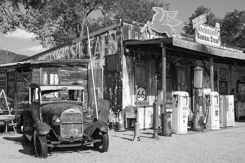 Hackberry, Arizona, on Route 66. Black and White.