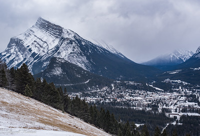 Banff Townsite and Rundle Mountain from Norquay Overlook