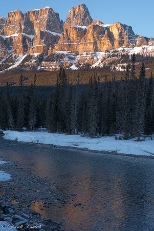 Castle Mountain from Bow River, Banff National Park
