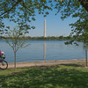 Cyclist and Washington Monument, Tidal Basin