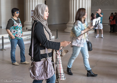 Tourist with Selfie Stick, Lincoln Memorial