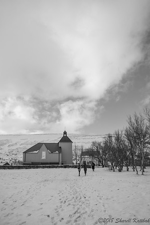 Peaceful Church, Husafell--Black and White