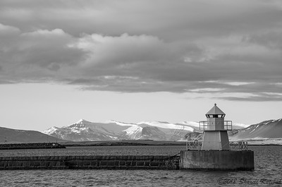 Lighthouse, Mountains and Sky, Black and White