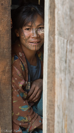 Beautiful Woman in Doorway, Aye, Chin State