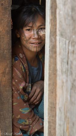Beautiful Woman in Doorway, Aye, Chin State