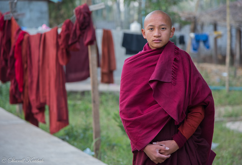 Young Monk with Laundry