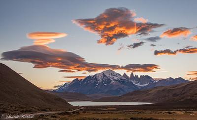 Sunset with Lenticular Cloud, Torres del Paine