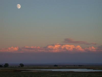 Moonrise at sunset. Laramie Valley, Wyoming.