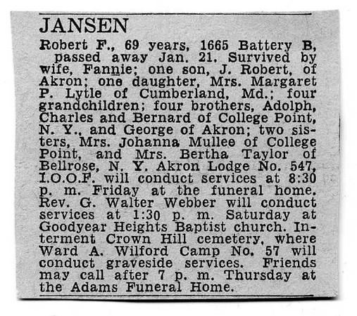 1948 January 21; Robert F. Jansen obituary