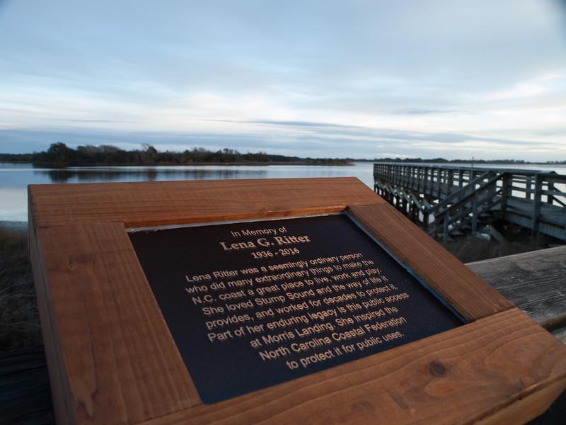 Memorial marker to Lena Ritter at Morris Landing pier, dedicated January 14, 2017.