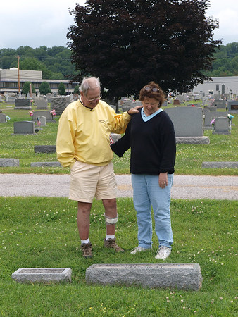 Jim Harsha & Connie Cummings at Grandad Harsha's grave, Valley Cemetery (Eastlawn), Reno, OH