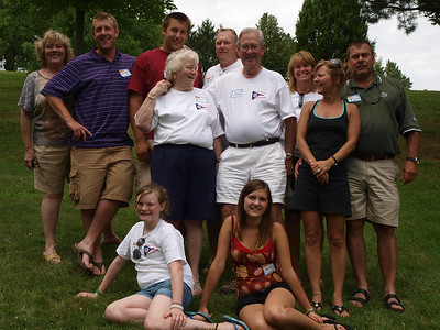 Jim and Diane Harsha family. Sitting: Ellen & Melanie Harsha. Middle: Diane & Jim Harsha, Diane & Tim Harsha. Back: Becky, Kevin & Kyle McKee. Tom & Lynne Harsha.