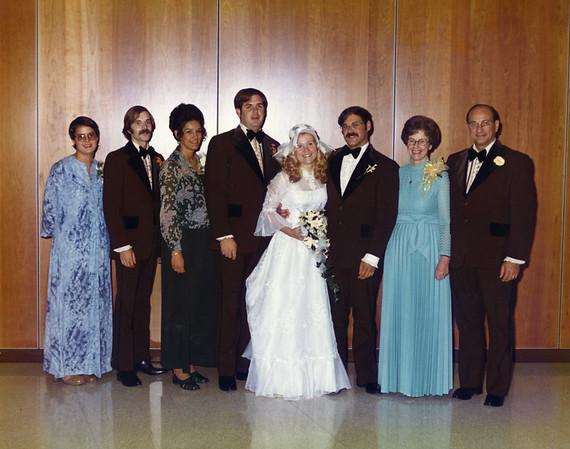 At Bill & Barb's wedding. Lesley Wischmann, Larry Jansen, Peg Jansen, Bob Jansen, Barbara Fedorovich Jansen, Bill Jansen, Mary Jansen, Bob Jansen Sr. September 14, 1975