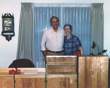 Bob and Mary with the play kitchen Bob built for Alicia. 1982.