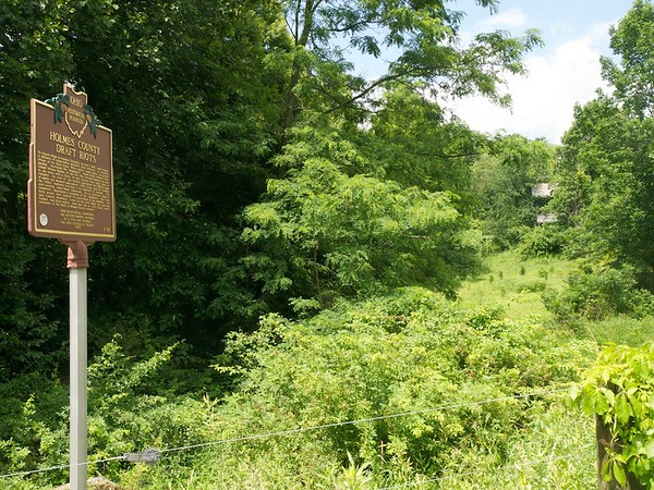 Surrounding area of Ohio historical marker for the Holmes County Draft Riots, quelled by Col. William Wallace.